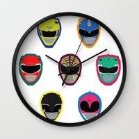 power rangers Wall Clocks featuring Rangers by Ocelotdude Designs
