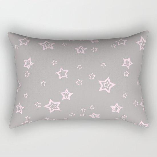 Pink little stars on grey on #Society6 Rectangular Pillow