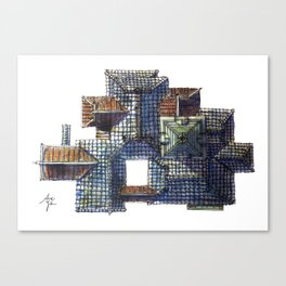 Taiwanese roofscapes 01(colored) Canvas Print