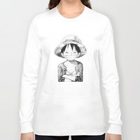 luffy Long Sleeve T-shirts featuring WANTED - Luffy by josemaHdeH