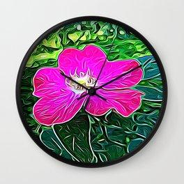 Magenta Flower of Harmony Wall Clock