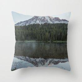 Sunrise at Reflection Lake - Mount Rainier Vertical Throw Pillow