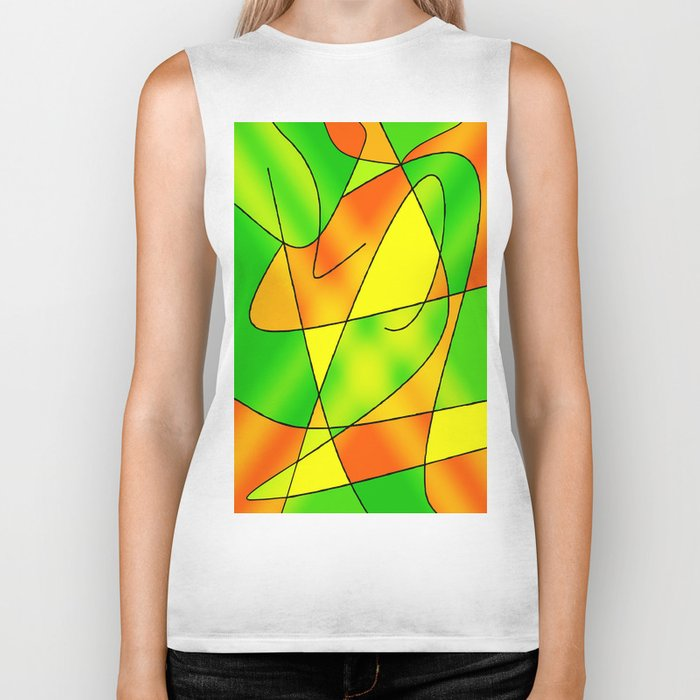 ABSTRACT CURVES #2 (Greens, Oranges & Yellows) Biker Tank