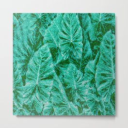 Green With Envy Layered Leaf Textures Metal Print
