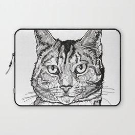 Cat line drawing portrait black and white illustration Laptop Sleeve