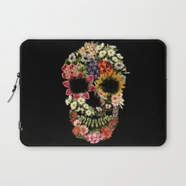 Floral Skull Vintage Black Laptop Sleeve
