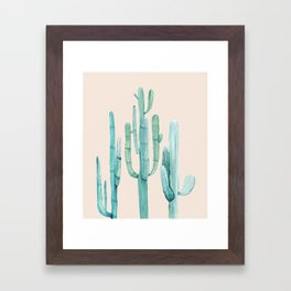 Three Amigos Turquoise + Coral Framed Art Print