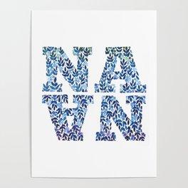 Modern Floral Nana Illustration Poster