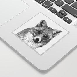 Black and White Fox Sticker