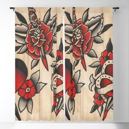 hearts and daggers Blackout Curtain