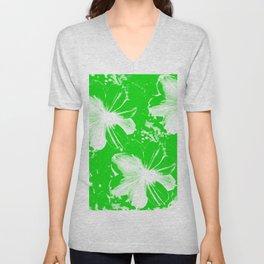 Green Flowers Unisex V-Neck