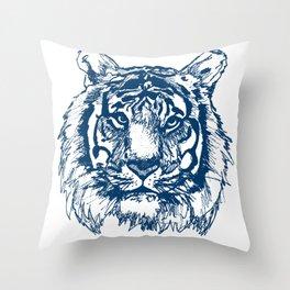 Blue Tiger Throw Pillow