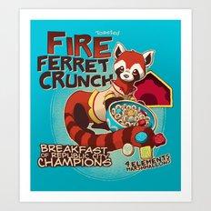 Fire Ferret Crunch Art Print