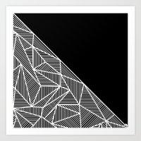 B Rays Geo BW Art Print