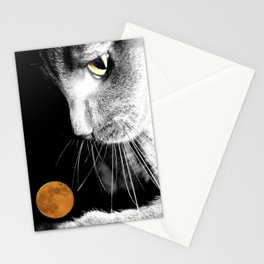 Silver Cat and Moon Stationery Cards