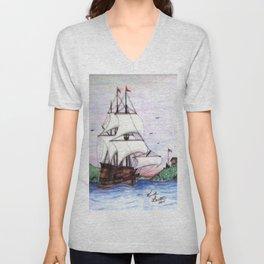 The Sea Lion in full sail Unisex V-Neck