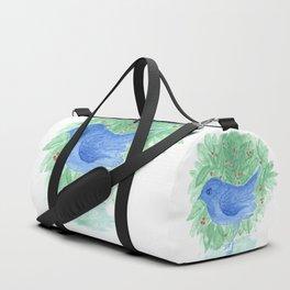 Blue bird and shrub watercolor painting Duffle Bag