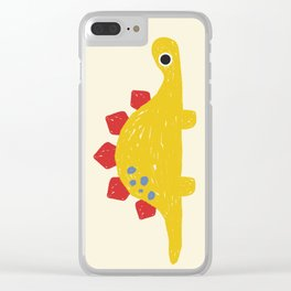 Cute Yellow Stegosaurus Dinosaur Clear iPhone Case