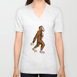 Neanderthal Man Walking Side Cartoon Unisex V-Neck