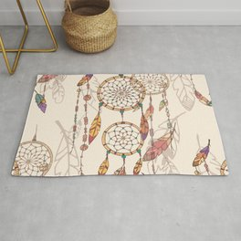 Bohemian dream catcher with beads and feathers Rug
