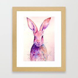 Watercolor Abstract Rabbit Hare blue purple Framed Art Print