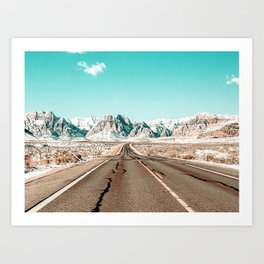 Vintage Desert Road // Winter Storm Red Rock Canyon Las Vegas Nature Scenery View Art Print