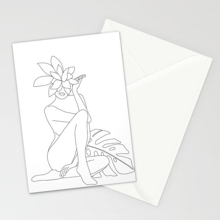 Minimal Line Art Woman with Tropical Leaves Stationery Cards