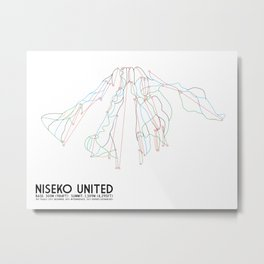 Niseko United, Japan - North American Edition - Minimalist Trail Art Metal Print