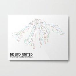 Niseko United, Japan - North American Edition - Minimalist Trail Art Metal Print