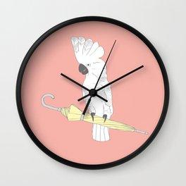 """'Umbrella Cockatoo"""" Illustration Print Wall Clock"""