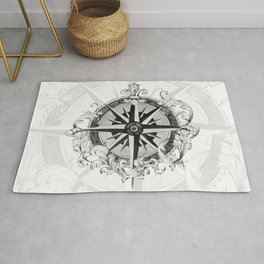 Black and White Scrolling Compass Rose Rug