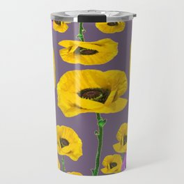 LILAC ANEMONES YELLOW POPPY FLOWERS ON GREY Travel Mug