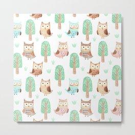 Hand painted pastel coral brown watercolor cute owls floral Metal Print