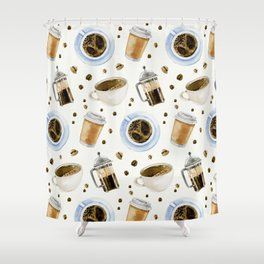 Coffee watercolor pattern with grains coffee Shower Curtain