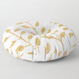 Gold Glitter Fronds Floor Pillow