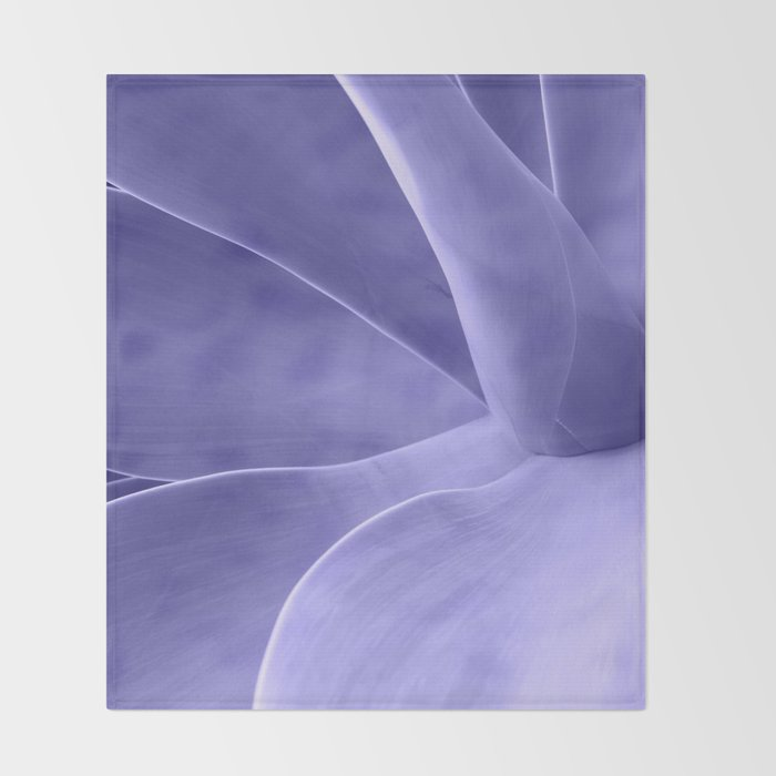 Periwinkle Succulent Throw Blanket