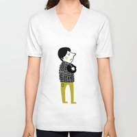 shopping V-neck T-shirts featuring vest shopping... by mummysam
