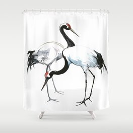 Japanese Cranes, Asian ink Crane bird artwork design Shower Curtain