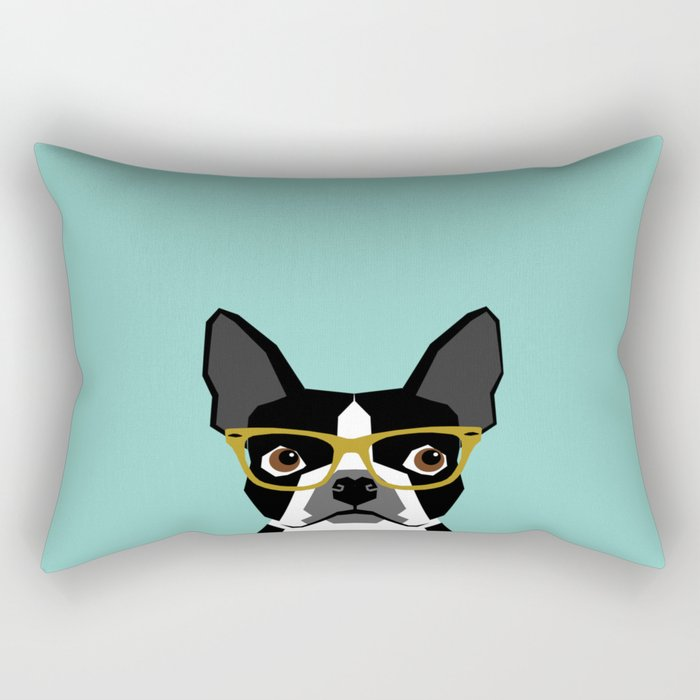 Darby - Boston Terrier pet design with hipster glasses in bold and modern colors for pet lovers Rectangular Pillow