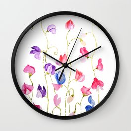 colorful sweet peas flower watercolor Wall Clock