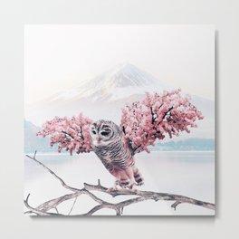 Sakura Owl Metal Print