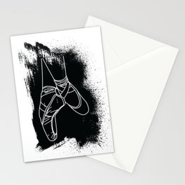 Outline of Ballet Pointe Shoes on Black Background Stationery Cards