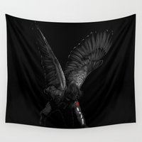 winter soldier Wall Tapestries featuring winged winter soldier by Zee Mendoza
