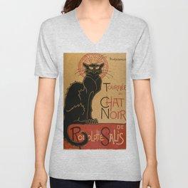 Le Chat Noir The Black Cat Poster by Théophile Steinlen Unisex V-Neck