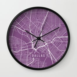 Dallas Map, USA - Purple Wall Clock