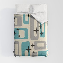 Retro Mid Century Modern Abstract Pattern 223 Blue and Gray Comforters