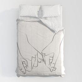 Pinky Swear, One Line Drawing Art Comforters