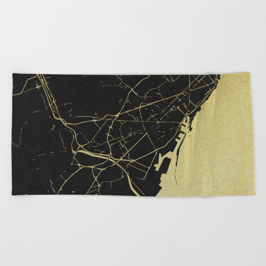 Barcelona Black and Gold Map Beach Towel