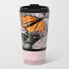 Monarch Butterfly on Pink Flowers and Gothic Tile Metal Travel Mug