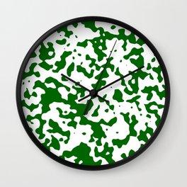 Spots - White and Dark Green Wall Clock